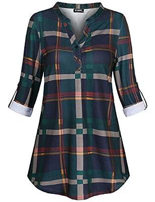 FINMYE Women's 3/4 Cuffed Sleeve Shirt Henley V Neck Printed Tunic Blouse Tops