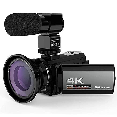 Cámara de Video Digital 4K Videocámara, HD 48MP WiFi Video Cámara Grabadora con Angular 0.39x Micrófono Externo Pantalla Táctil de 3'Pantalla 16x Zoom Digital Videocámara Digital