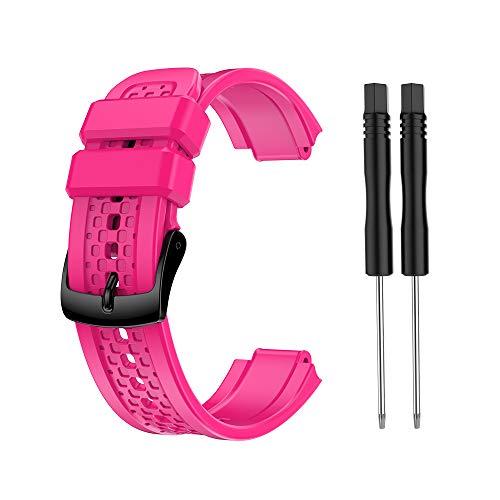Adoolla Pulsera de silicona de gran tamaño para Garmin Forerunner 25, color rojo rosa