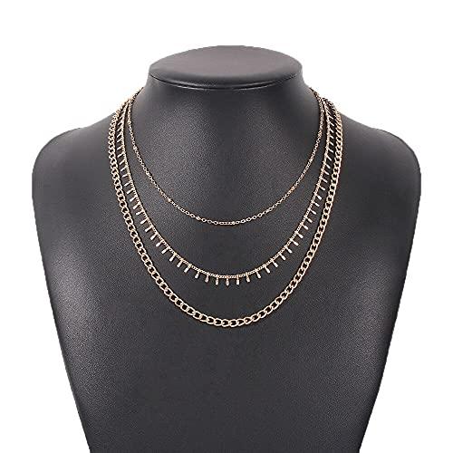 xuyang Collar para mujer con adornos retro Simplicidad de múltiples capas de combinación de cadena collar con borla y accesorios de joyería (color metálico: oro)