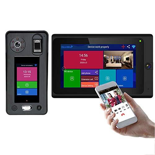 Timbre con video inalámbrico WiFi, sistema de intercomunicación con videoportero bidireccional de 7 pulgadas, cámara 1080P, huellas dactilares, reconocimiento facial, APP desbloqueo