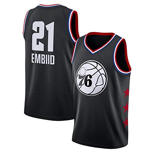 WOLFIRE SC Camiseta de Baloncesto para Hombre, NBA, Philadelphia 76ers 21# Joel Embiid. Bordado, Transpirable y Resistente al Desgaste Camiseta para Fan (All Stars Negra, L)