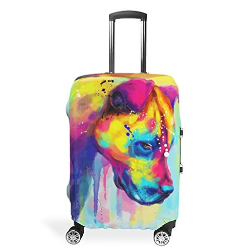 Colored Dog Print Vintage Style 3D Colorful Pattern Suitcase Protector Dustproof 18/20/24/28/32 Inch for Tour White l(26-28 inch)