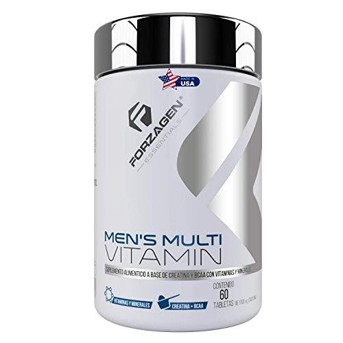 FORZAGEN Essentials | Hecho en EUA | Men's Multivitamin - 60 Tabletas | Vitaminas y Minerales Importados para Hombre | Vitamina C | Ácido Fólico | Zinc | Magnesio | Calcio | Poderosos Antioxidantes | Con Complejo de Rendimiento | BCAA | Creatina | L-Arginina | Promueve Rendimiento y Recuperación Muscular | Refuerza Sistema Inmune | Protege la Salud | Incrementa Energía y Vitalidad | Esencial para Hombres | Suplemento Natural