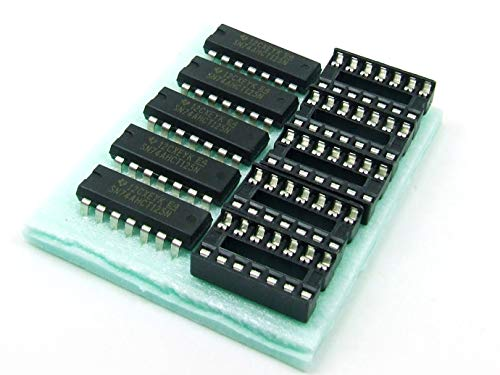 POPESQ® - 5 STK./pcs. x SN 74AHCT125 N mit/with DIP14 Sockel/Socket Quadruple Bus Buffer #A579