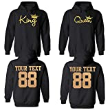 King and Queen Custom Couple Hoodie Customized Names and Numbers for him and her Personalized Matching Couples
