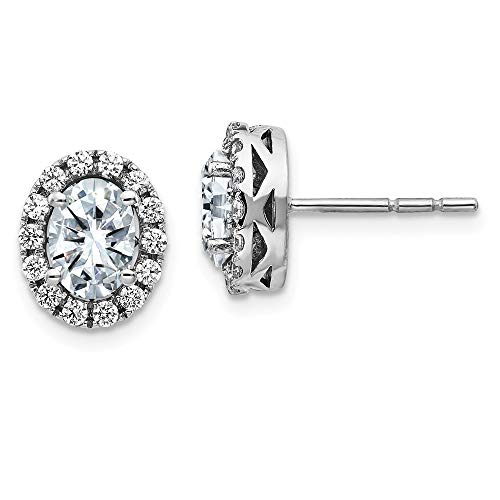14k White Gold Oval Halo Post Stud Earrings D E F Pure Moissanite Ball Button Fine Jewellery For Women Gifts For Her