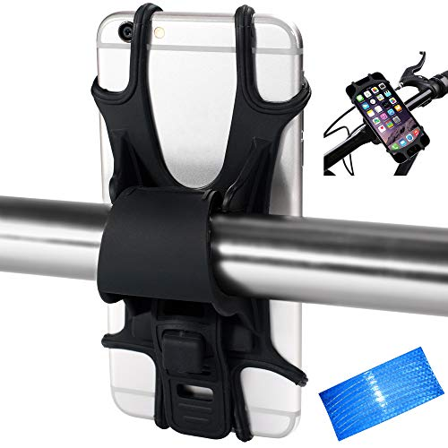 Bike Phone Mount Holder, Universal Adjustable Silicone Bicycle Phone Holder for Cycling GPS/Map/Time/Music, Fit for iPhone 11 Pro Max/XS/XR/8/8 Plus, Samsung Galaxy S20/S10/Note 10, Black