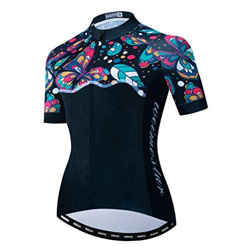 Fahrradtrikot Damen Bike Jersey 2020 MTB Fahrrad Shirt Team Racing Tops Gr. Large, Blatt Schwarz Grün