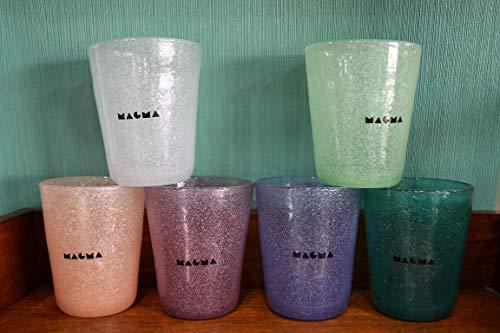 Set 6 Bicchieri in Pasta di Vetro Glass ML. 260 Colori Pastello