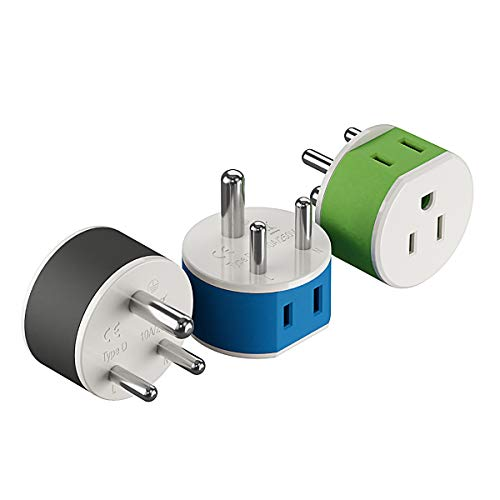 India, Nepal, Maldives Power Plug Adapter by OREI with 2 USA Inputs - Travel 3 Pack - Type D (US-10) Safe Grounded Use with Cell Phones, Laptop, Camera Chargers, CPAP, and More