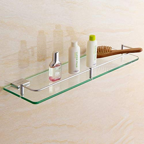 Organize It All Wall Mounting Bathroom Glass Shelf with Chrome Finish and Rail Rack