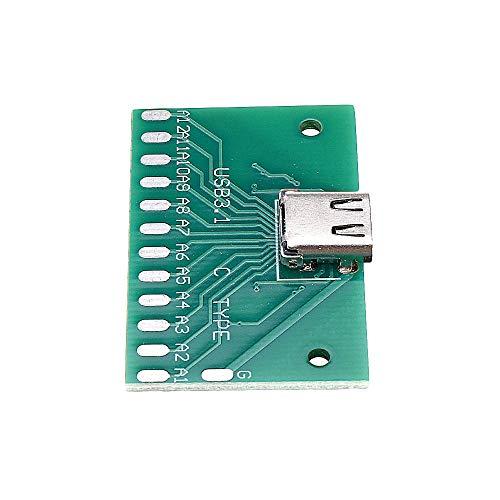 Módulo electrónico TIPO-C del tablero de prueba hembra del USB 3.1 con adaptador de conector de PCB 24P Mujer Por La medición de conducción de corriente 20pcs Equipo electrónico de alta precisión