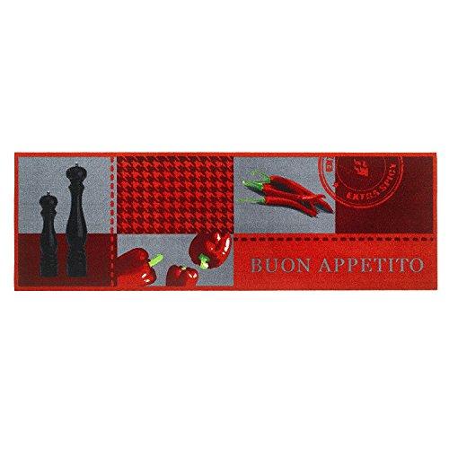 Läufer Küchenläufer Küchenteppich Teppich Teppichläufer Antirutschmatte Küchenmatte Vorleger für die Küche waschbarer rutschfester 50x150 cm groß Kitchen Bon Appetit Rot Modern