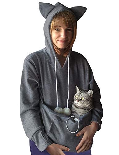 Dresswel Damen Kapuzenpullover Pulli mit Hundetasche Katzen Hund Tasche Hoodie Katze Sweatshirt Pullover mit Kapuze Katzenpulli Beutel Langarm Herbst Winter
