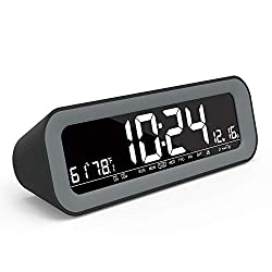 FULLWILL Alarm Clock Radio with Auto Dimming, FM Radio, 2 USB Charging Ports, Large 7 White LED Display, Battery Backup, Temperature and Humidity, Dual Alarm, Snooze, Date-Display for Bedroom