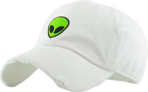 KBSV-042 WHT Alien Vintage Dad Hat Baseball Cap Polo Style Adjustable