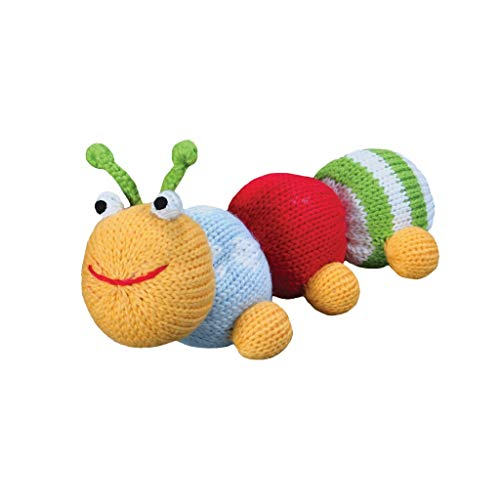 Zubels Baby Hand-Knit Nibble The Caterpillar Rattle Toy, All-Natural Fibers, Eco-Friendly, 100% Cotton