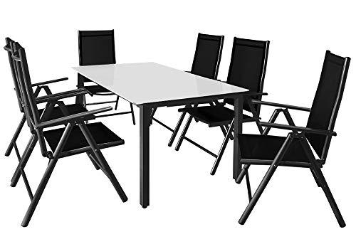 Casaria Sitzgruppe Bern 6+1 Aluminium 7-Fach verstellbare Stühle Hochlehner Milchglas Tisch Anthrazit Gartenmöbel Set