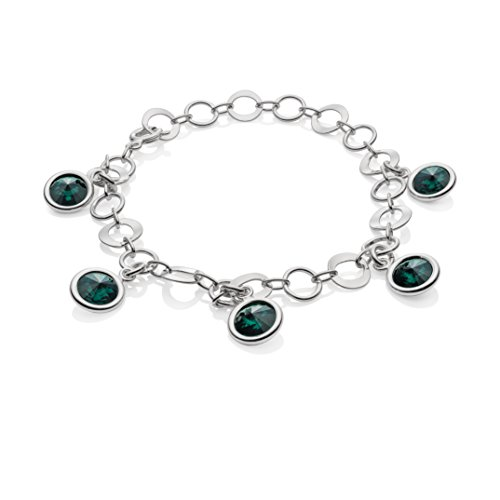 LillyMarie Damen Armband Sterling-Silber 925 Swarovski Elements Edel-Stein Grün Längen-verstellbar Geschenkverpackung Geschenk für Mama