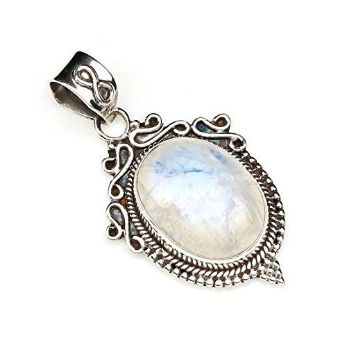Kettenanhänger Amulett Silber 925 Sterlingsilber Regenbogen Mondstein weiß Stein (Nr: MAH 124-04)