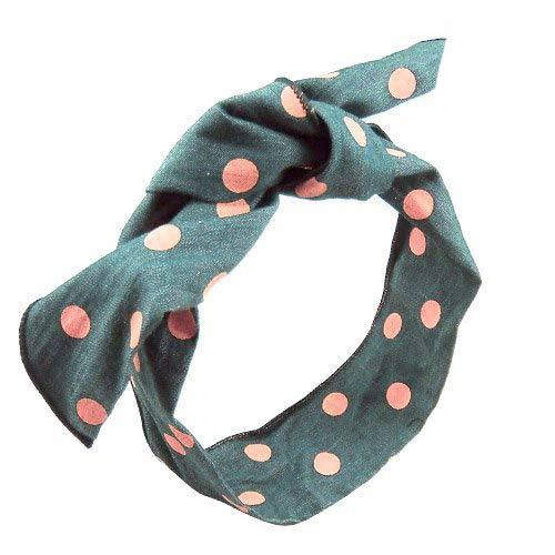 18 – 702 – Bandeau pour cheveux cm 5 tissu jeans à pois avec intérieur en métal souple – longueur cm 80 – Bandeaux pour Cheveux rose