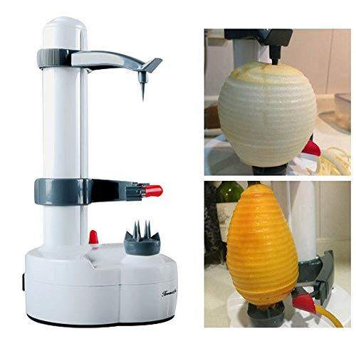 Automatic Electric Fruit Peeler,Stainless Steel Potato Peeling Machine Rotating Fruits Vegetables Cutter Peeling Tool and 2 Blade