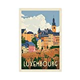 Luxemburg City Retro Reise Poster Leinwand Poster Wandkunst