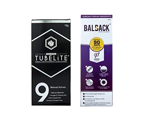 TUBELiTE & Balback Combo For Skin & Hair Solution (Skin Lightening Cream 15g and Hair Growth and Revitalizing Serum 60ml)