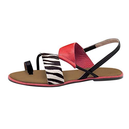 Aunimeifly Women Flat Heel Flip-Flops Slip-On Sandals Casual Sandals Beach Zebra Print Casual Sandals Shoes(Red,40)