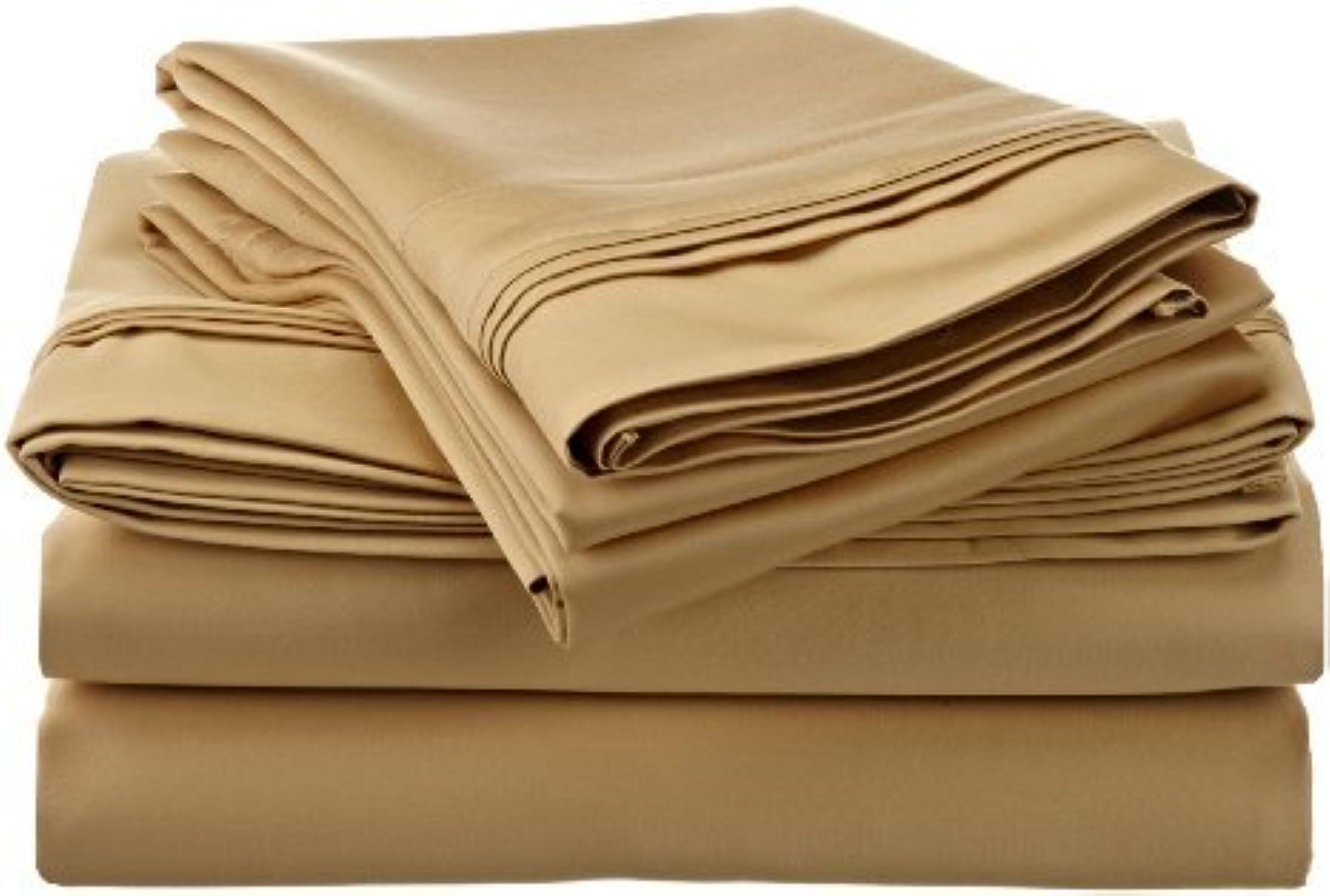 Dreamz simple 500 fils poche profonde - 26 cm-Lot de 4 pièces jointes Waterbed simple solide Or 100%  coton égypcravaten