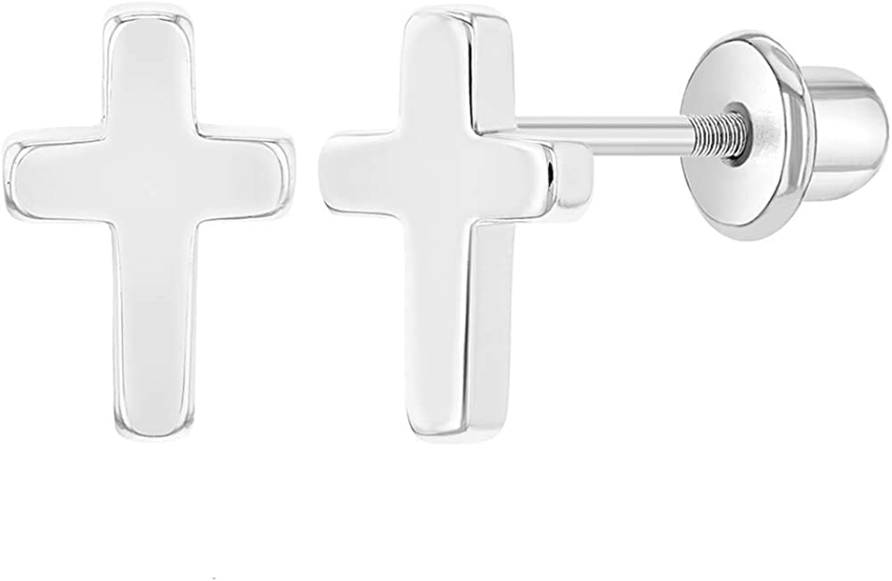 Rhodium Plated Plain Small Cross Safety Screw Back Earrings for Toddlers & Little Girls - Religious Tiny Cross Earrings for Young Girls Perfect for Christening or Baptism