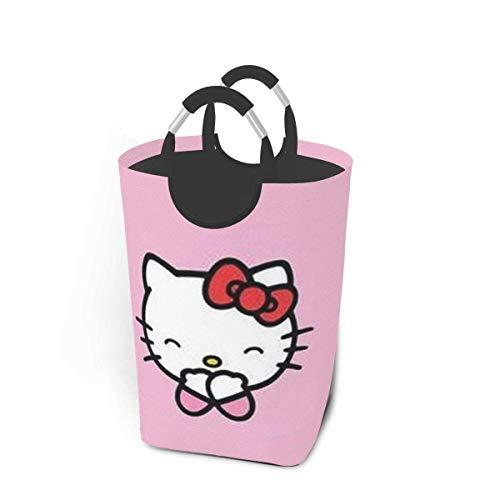 N\A Hello Kitty Wäschekörbe mit Griffen Faltbar Wasserdicht Langlebig 50L Große Kapazität 22,7 Zoll Quadratischer Wäschekorb für Schlafzimmer Badezimmer Schlafsaal Schrank Lagerung
