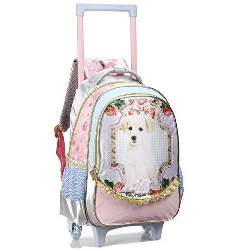 Mochila Escolar Carrinho Feminina Infantil Cachorro Rodinha 11635