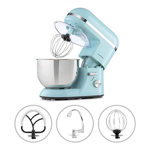 Klarstein Bella Elegance Küchenmaschine Rührmaschine, 1300W/1,7PS in 6 Leistungsstufen mit Pulsfunktion, Planetarisches Rührsystem, 5l Edelstahlschüssel, 3-tlg. Silberfarbene Applikationen, blau