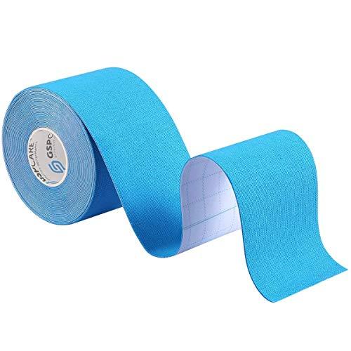テーピングテープ キネシオロジーテープテーピングテープ キネシオ テープ 伸縮性&通気性 手首 筋肉・関節をサポート 伸縮性強い 汗に強い 5cm x 5m (ライトブルー)