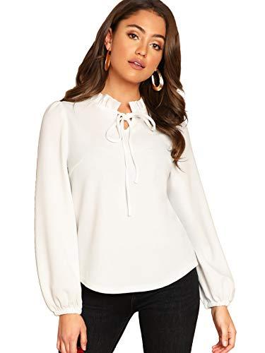 SheIn Women's Bow Tie Neck Ruffle Long Sleeve Elegant Shirt Blouse Top Large White