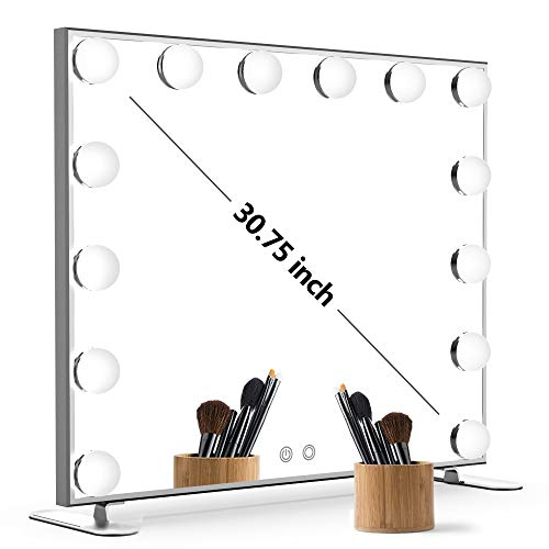 Nitin Lighted Vanity Mirror with Touch Control Design, Hollywood Makeup Mirrors with Lights, Tabletop or Wall Mounted Vanity Mirrors (Silver)