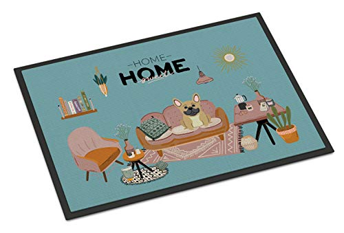Caroline's Treasures Cream French Bulldog Sweet Home Indoor or Outdoor Mat 18x27 doormats, Multicolor