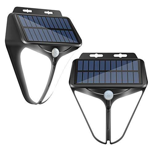 Solarlampen für Außen, LED Solarleuchte Aussen mit Bewegungsmelder, HOSPAOP IP65 Wasserdichte 3 Modi 2200mAh Solar Wandleuchte Aussenleuchte Solarlicht für Garten (2 Stück)