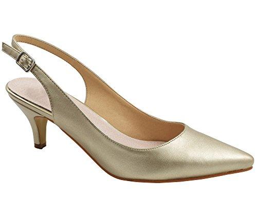 Greatonu Zapatos de Tacón Dorados Espigones Cómodos de Modas de Trabajos para Mujer Tamaño 37 EU