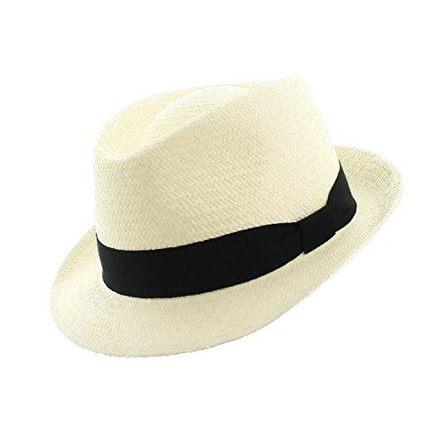 votrechapeau–Sombrero de Panamá–Sombrero de paja Cuenca–Sombrero Trilby–Ala estrecha blanco 54