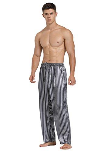 Lavenderi Mens Satin Pajama Pants, Long Pj Bottoms (Large, Grey Stripe)