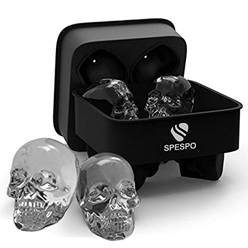 Cewe 3D, spespo silicone, makes 4.6 X 4cm ice gin, whiskey, scotch, cocktail and liqueur glasses-black (4 skull cubes)