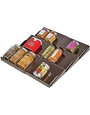 mDesign Organizer na przyprawy – Rozszerzalny schowek na przyprawy – 3-poziomowy organizer do szuflady do kuchni, łazienki i biura – Przechowywanie przypraw – Brązowy