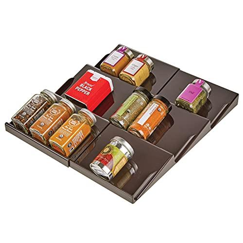 mDesign Especiero para cajones de 20 a 36,8 cm – Organizador de especias extensible hasta los 36,8 cm – Organizador de cajones con tres niveles – color bronce