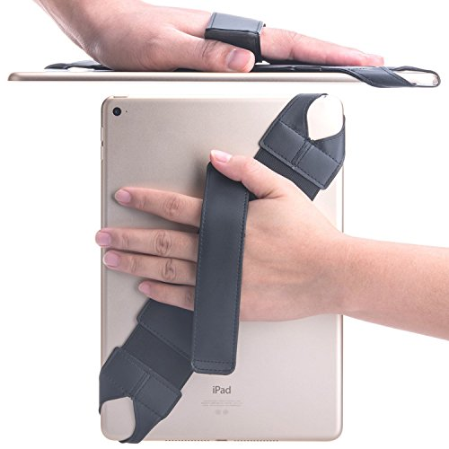 Universal Hand Strap Holder, SOOANN 360 Degrees Swivel Leather Handle Grip with Elastic Belt for 9.7 inches Pad and 10.1 inches Tablets (Samsung Asus Acer Google Lenovo Kindle iPad Pro), Black