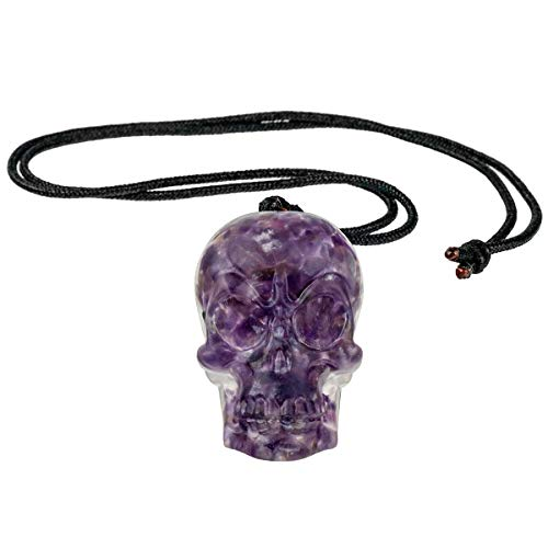 rockcloud Orgonite Healing Crystal Chips Skull Pendant Necklace Handmade Jewelry Adjustable for Men and Womens, Amethyst