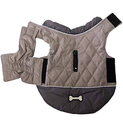 JoyDaog Wendehundemäntel für kleine Hunde wasserdichte, warme Welpenjacke aus Baumwolle für den kalten Winter, Grau XS