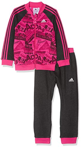 adidas Baby Basketballall Jogger French Terry Trainingsanzug, Real Magenta/Black/White, 92